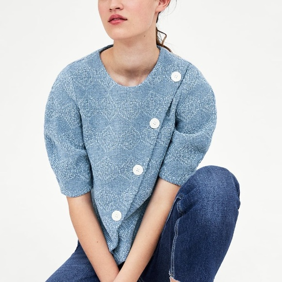 26370ced0ad Zara sky blue tweed top with buttons